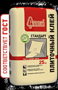 Плиточный клей Стандарт Старатели, 25 кгПлиточные и монтажные клеи<br>Для укладки керамической плитки на стены и пол в помещениях&amp;nbsp;<br>с любой влажностью. &amp;nbsp;<br>Соответствует ГОСТ Р 56387-2015<br>